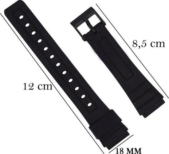 Casio Horlogeband Met gladde Oppervlak - 20mm Aanzetmaat - Zwart