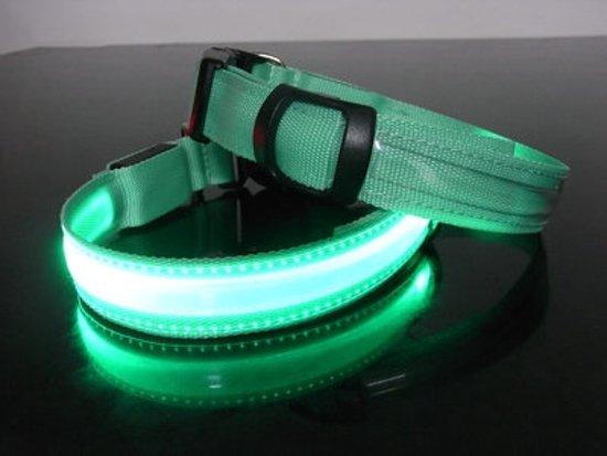 Led hondenhalsband Groen Extra Large 52 - 60 cm