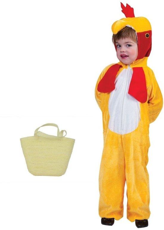 Paaskip verkleedpak maat 164 (12-14 jaar) met mandje voor kinderen - Kip/haan kostuum