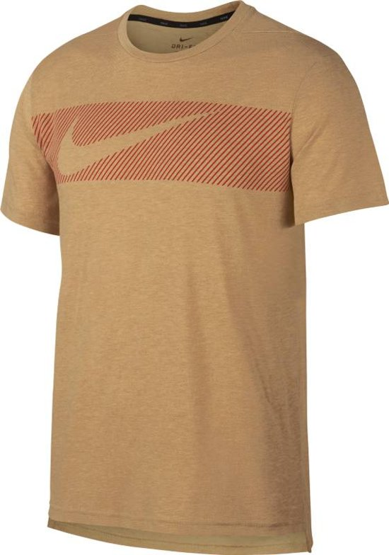 Nike Breath Top Ss Hyper Dry Gfx Sportshirt Heren - Geel