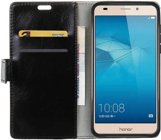 Huawei Honor 5C Lederen Portemonnee Cover Zwart in Lombardsijde