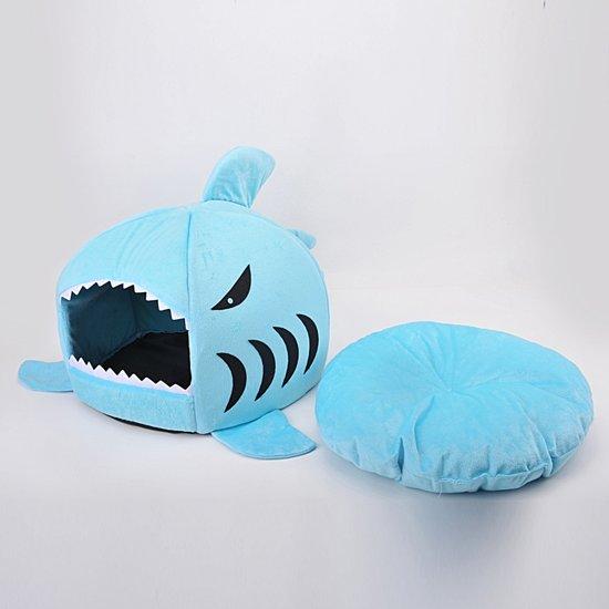 Kattenmand In De Vorm Van Haai - Unieke Mand Voor Kat - Blauw
