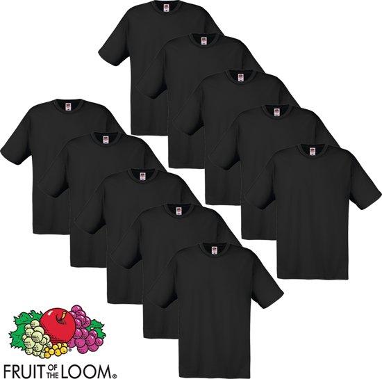 Fruit of the Loom T-shirt maat XXL 100% katoen 10 stuks (zwart)