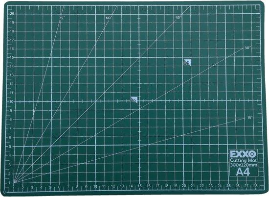 EXXO #10050 - A4 Snijmat - 5-laags zelfhelend - 2-zijdige rasterdruk - 22x30cm - 12 stuks