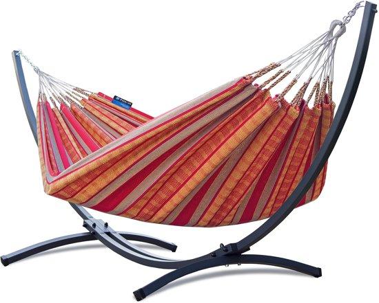 Potenza Grande mandarin – stabiele en duurzame hangmatset 2 personen / tweepersoons hangmat met standaard uit Colombia (grafiet)