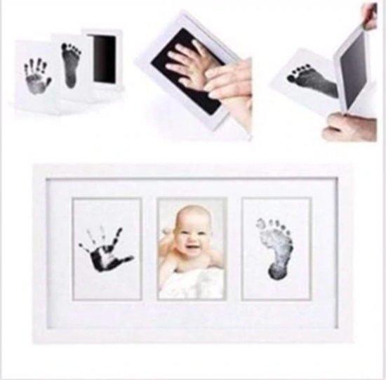 Baby fotokaartje handafdruk en voetafdruk - inkt kraamcadeau - eenvoudig schoonmaken - 4 stuks - kleur zwart - incl. handleiding
