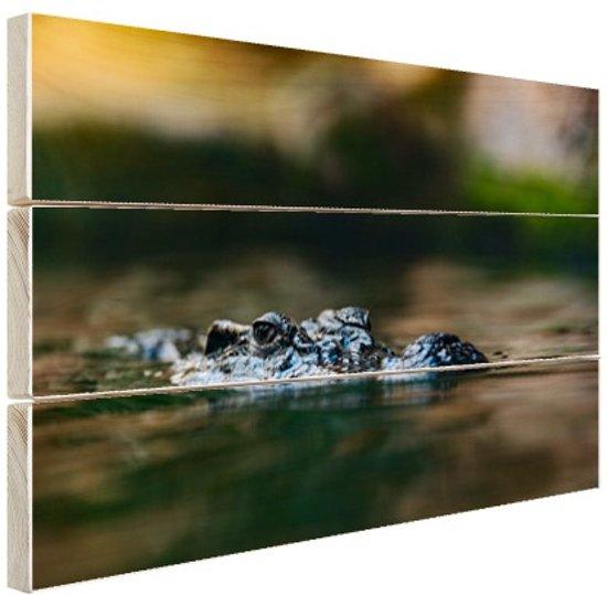 FotoCadeau.nl - Krokodil aan de oppervlakte Hout 80x60 cm - Foto print op Hout (Wanddecoratie)