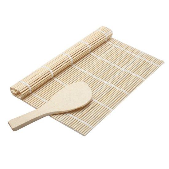Easy Sushi Roller Bamboe Mat - Sushi Roll Maker Set - Rolmatje Rijstlepel Kit - 2-Delig
