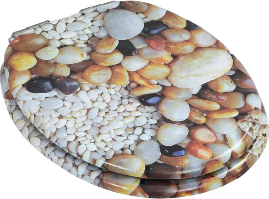 vidaXL Toiletbril met soft-close deksel MDF kiezelsteentjes print