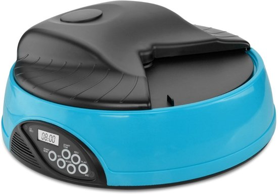 Lucky Paw Automatische Voerbak voor Hond en Kat - Voerautomaat 4 Maaltijden - Blauw