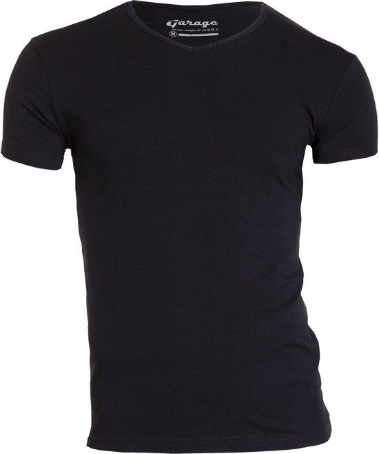 Garage Bodyfit V-Neck T-Shirt Zwart Heren Size : XL