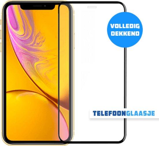 iPhone Xr Glazen screenprotector (FULL COVER) (ZWART)   Tempered glass   Gehard glas