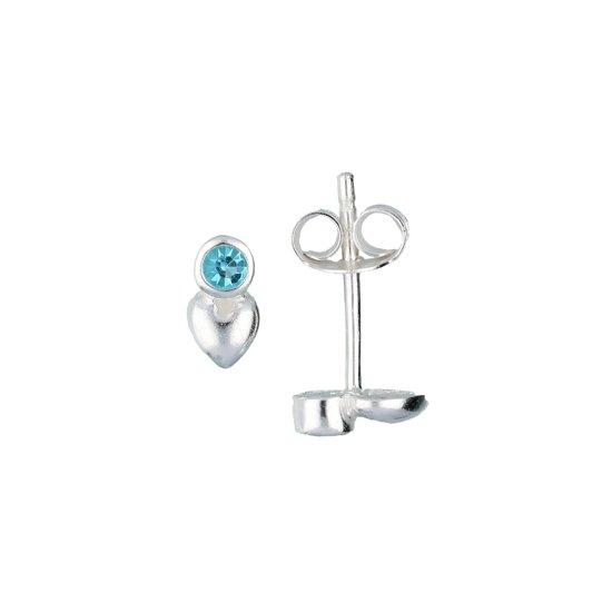 Lilly oorknopjes hart - zilver -  ronde zirkonia - blauw