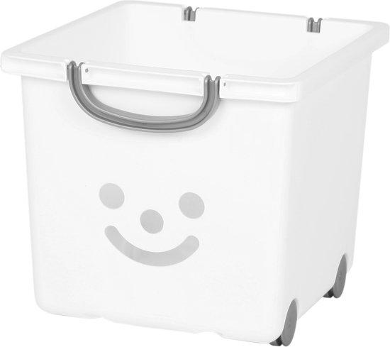 IRIS Smiley Kids Box Opbergbox met wieltjes - 25l - Kunststof - Wit/Zilver