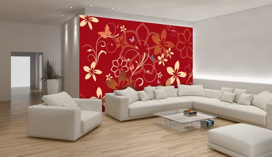 Red Photomural, wallcovering