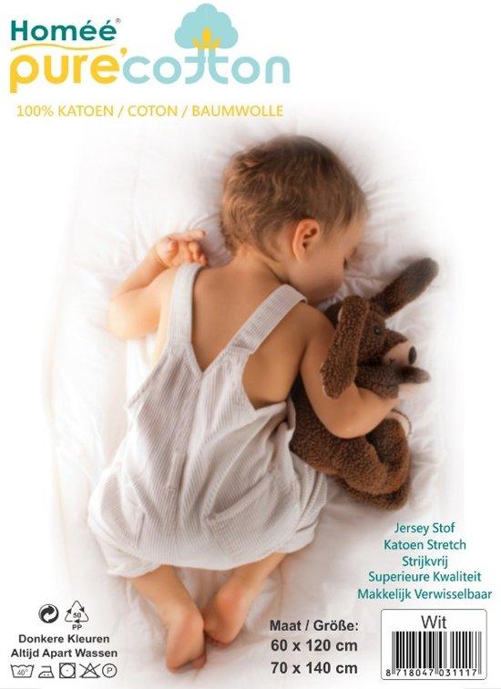 Homéé - Jersey kinder hoeslaken - Wit | set van 2 stuks | Ledikant 60/70 x 120/140 cm