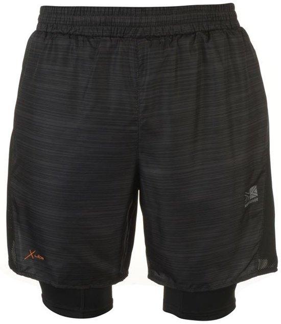Karrimor 2 in 1 Runningshort sportbroek - maat XL - Heren - Zwart all over print