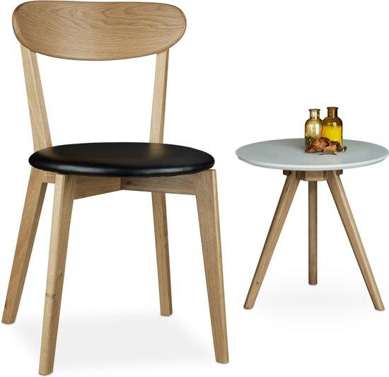 bol.com | relaxdays - eiken eetkamerstoel - kunstleer - stoel keuken ...