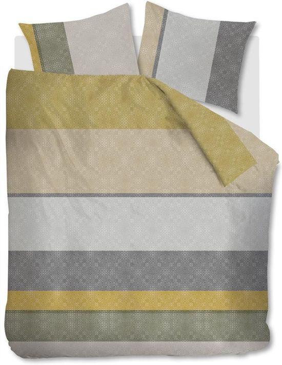 Comfortabel Katoen Dekbedovertrek Afra Goud | 240x200/220 | Fijn Geweven | Ademend  En Zacht