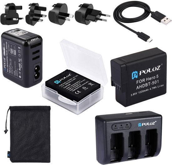 PULUZ 5 in 1 AHDBT-501 3.85V 1220mAh Battery + AHDBT-501 3-channel Battery Charger +  Mesh Storage Bag + Battery Storage Box + 2-Port USB 5V (2.1A + 2.1A) Wall Charger Kit voor GoPro HERO5