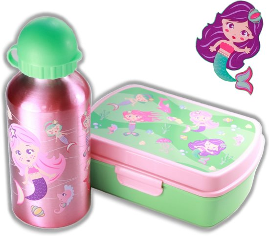 Broodtrommel + aluminium drinkfles Zeemeermin roze   Lunchbox kinderen LS08