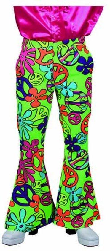 Hippie Kostuum   Gifgroene Flower Power Broek Man   XL   Carnaval kostuum   Verkleedkleding