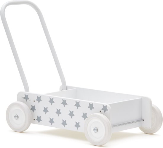 Houten wandelwagen ster wit-grijs Kids Concept