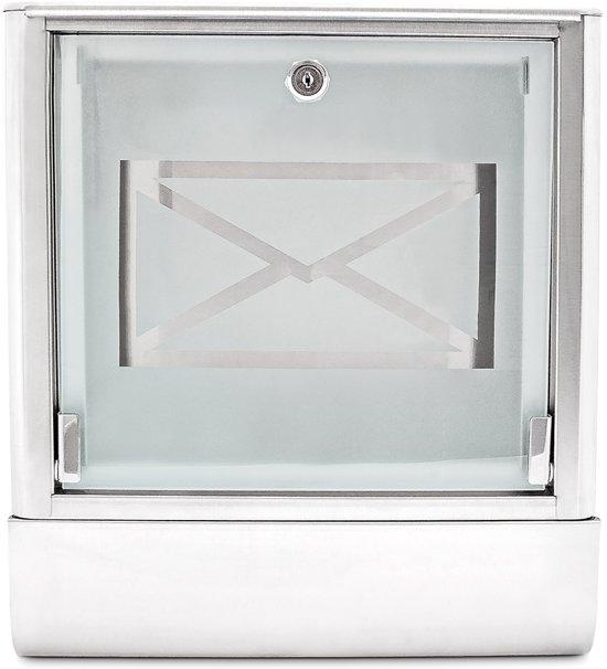 relaxdays Brievenbus edelstaal rvs melkglas - Wandmodel - Krantenrol - Wand brievenbus.