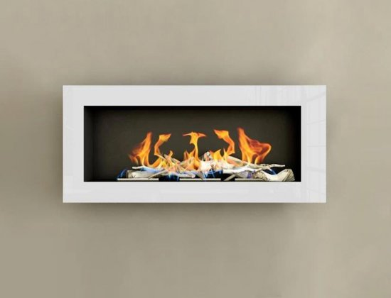 design haard bio ethanol 3 brander hoogglans wit met decostenen. Black Bedroom Furniture Sets. Home Design Ideas
