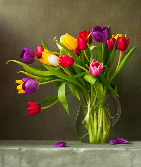 Tulpen Op Vaas.Tuinposter Tulpen In Vaas