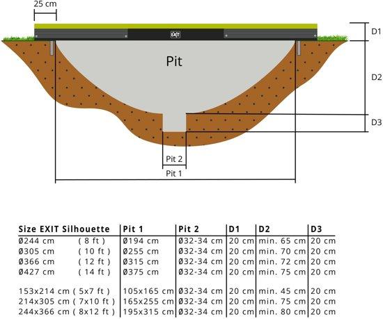 EXIT Silhouette inground trampoline ø366cm met veiligheidsnet - groen