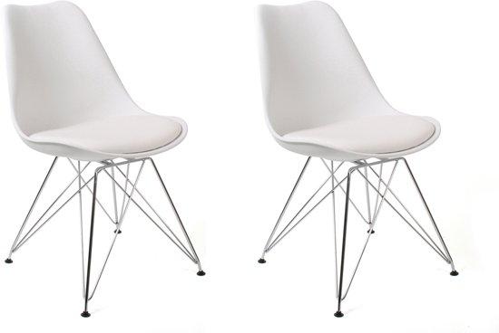 Witte Eetkamer Stoel : Bol butik living consilium chrome stoel wit set van