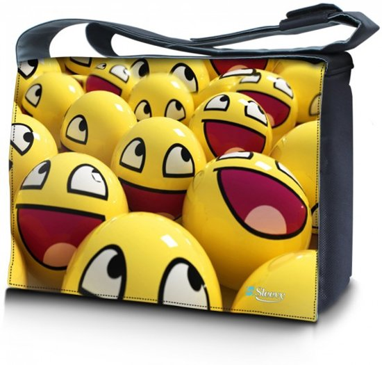 9b30472c3b1 bol.com | Laptoptas / messengertas 17,3 gele smileys - Sleevy
