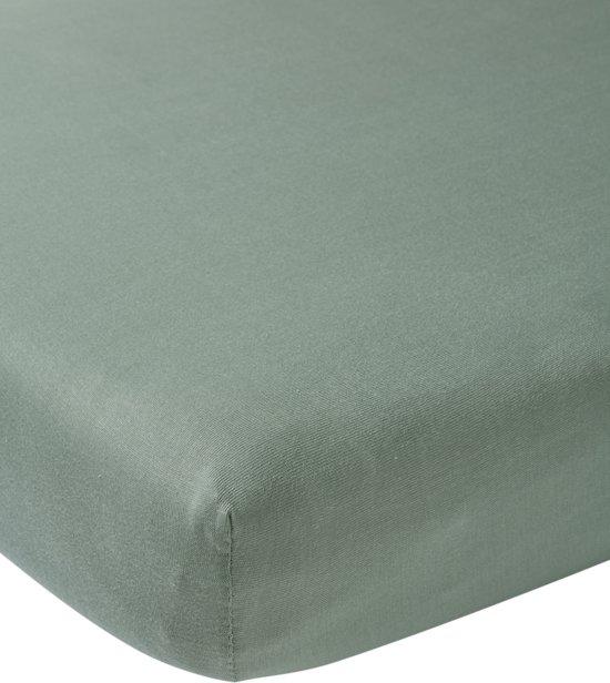 Meyco jersey hoeslaken boxmatras - 75x95 cm - stone green