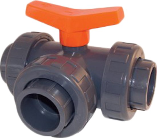 Effast Kogelkraan PVC 3-weg t-boring lijm 63mm