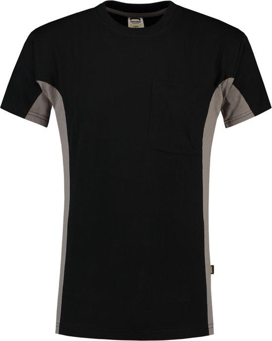 Tricorp T-shirt Bicolor Borstzak 102002 Zwart / Grijs - Maat XL