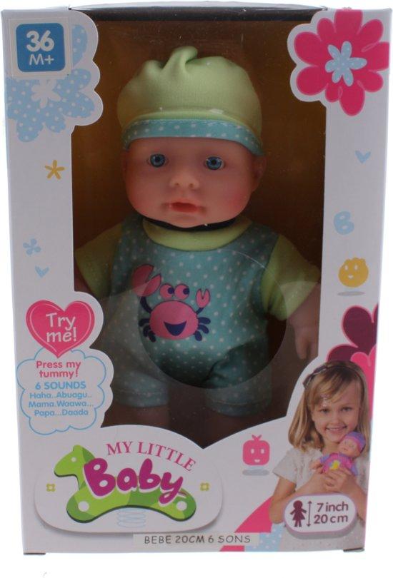 My Little Baby Babypop Met Geluiden Meisjes 20 Cm Blauw/groen