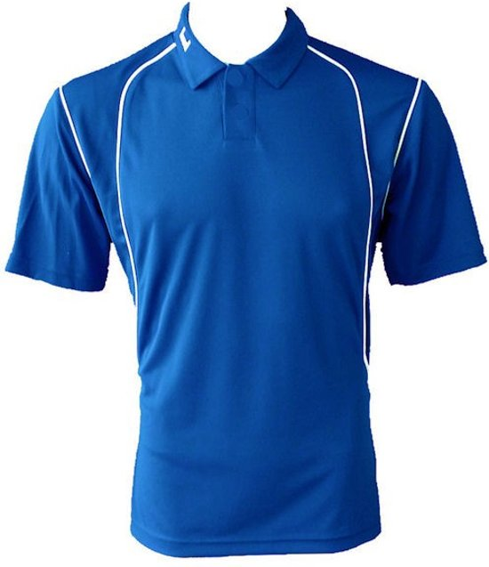 KWD Poloshirt Victoria korte mouw - Kobaltblauw/wit - Maat 164/S
