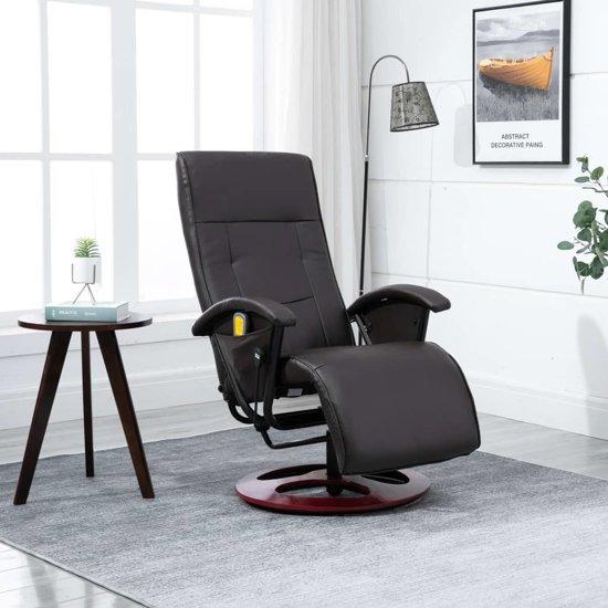 Design Stoel Lounge.Bol Com Massage Fauteuil Bruin Kunstleer Met Voetenbank