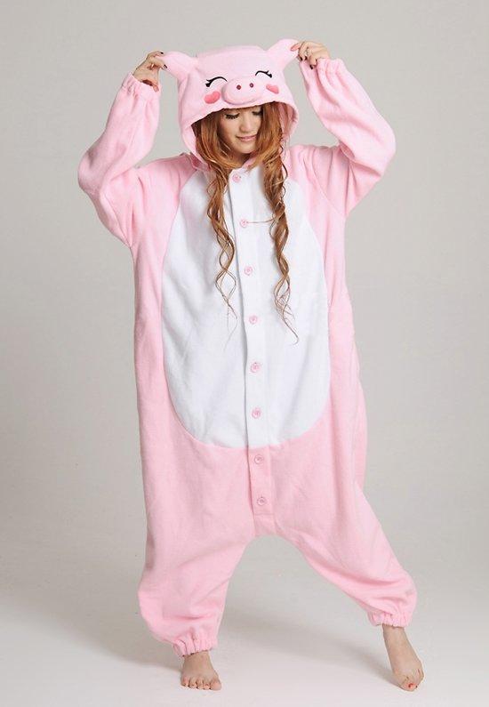 4b7ed145aae KIMU Onesie varken pak roze varkentje kostuum - maat S-M - varkenspak  jumpsuit huispak festival