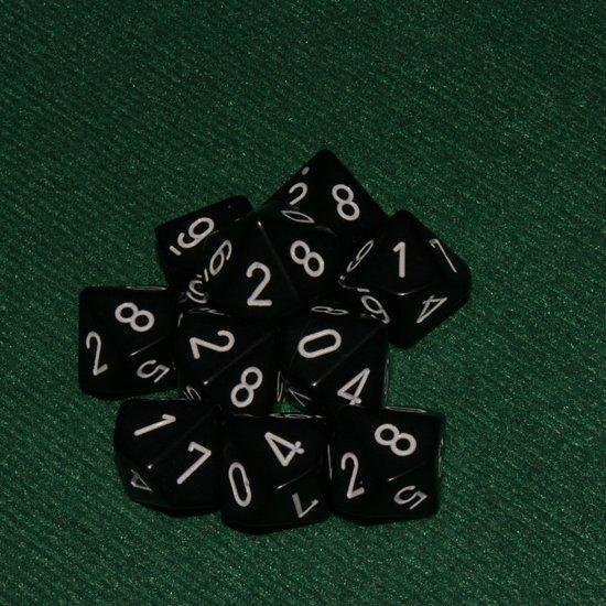 Afbeelding van het spel 10 Vlakken Tienzijdige Dobbelstenen Zwart met Wit 16mm Set van 6 Stuks