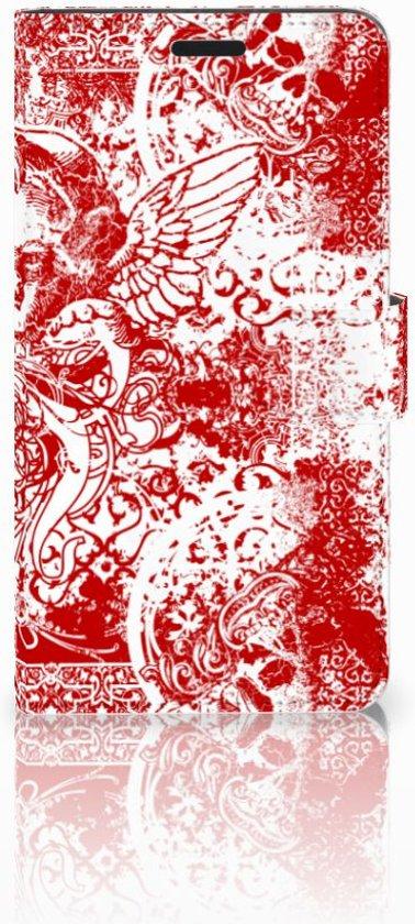 Sony Xperia T3 Bookcase Design Angel Skull Red