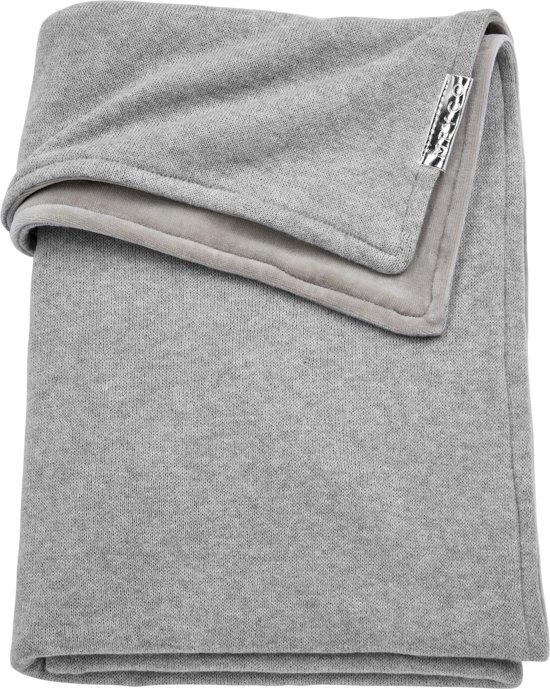 Meyco ledikantdeken Knit Basic met velvet - 100x150 cm - grijs melange