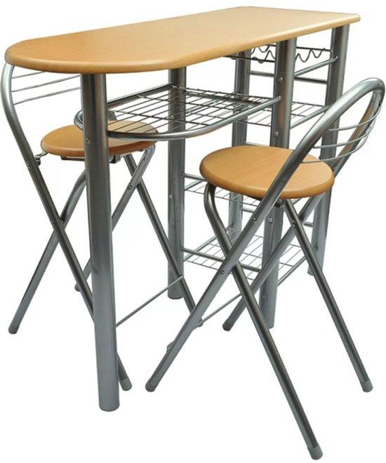 Verwonderlijk bol.com | vidaXL - Set tafel en stoelen Bar met barkrukken (2 stuks) MX-57
