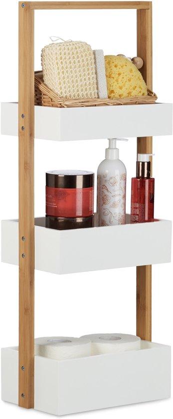 bol.com | relaxdays badkamerrek klein - houten rek met 3 manden ...