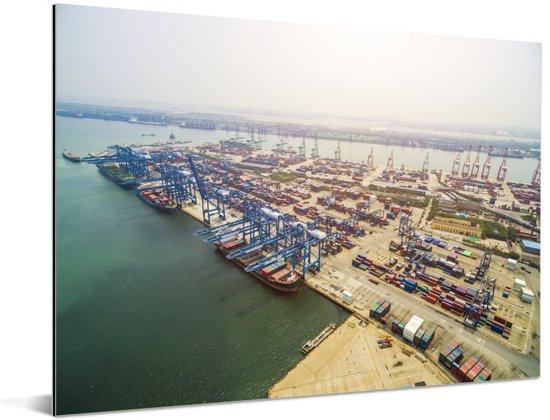Luchtfoto van de haven van Tianjin Aluminium 160x120 cm - Foto print op Aluminium (metaal wanddecoratie) XXL / Groot formaat!