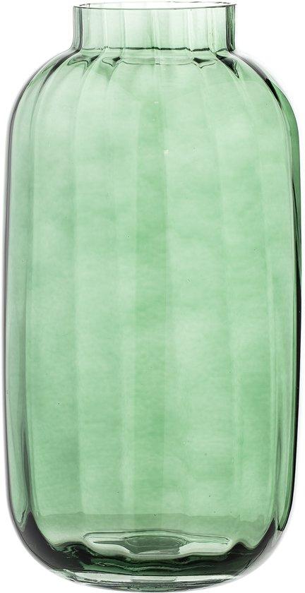 Groene Glazen Vaas.Bloomingville Vaas Glas Groen D16xh32 Cm