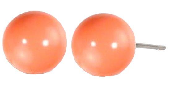 Traveller parel oorsteker - met 10mm Swarovski Crystal pink coral- #112328