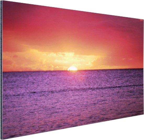 Zonsondergang over paarse zee Aluminium 30x20 cm - Foto print op Aluminium (metaal wanddecoratie)
