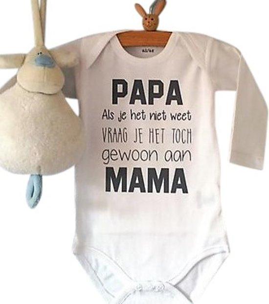 Baby Tekst Rompertje Zwangerschap Aankondiging Papa Als Je Het Niet Weet Vraag Je Het Toch Gewoon Aan Mama Lange Mouw Wit Maat 5056 Liefste Pap